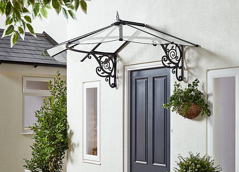 Auvent Canopy Lily Noir 1 75 X 1 25 X 0 8 M Auvent Auvent Pour Porte D Entree Door