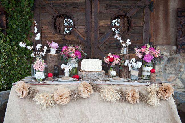 Rustic Burlap Valentines Table Chic Winter Wedding Inspiration