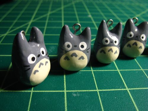 Super-cute Totoro polymer clay charms.