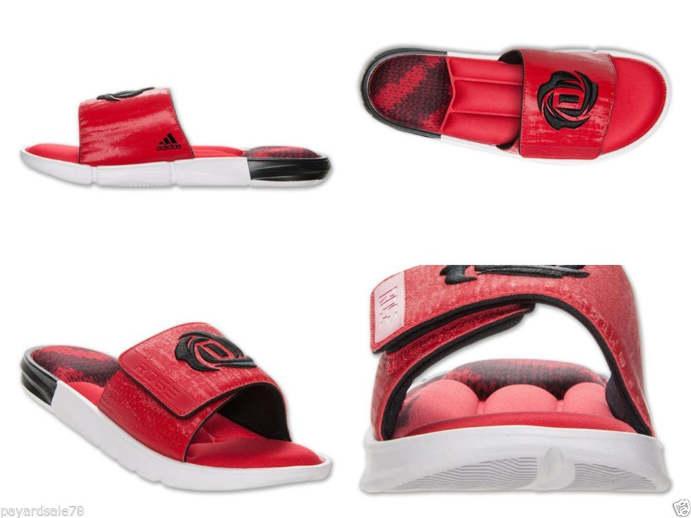 51cf7eb8d74b MEN S SLIDES ADIDAS D ROSE SLIDE HX RED BLACK SANDALS FLIP FLOPS LAKERS   adidas  Slides