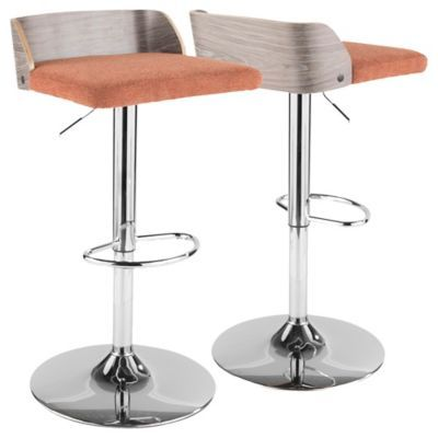 Lumisource Upholstered Stool In Grey Orange In 2019