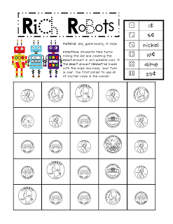 here 39 s a robot themed game for practicing coin counting and combinations money homeschool. Black Bedroom Furniture Sets. Home Design Ideas
