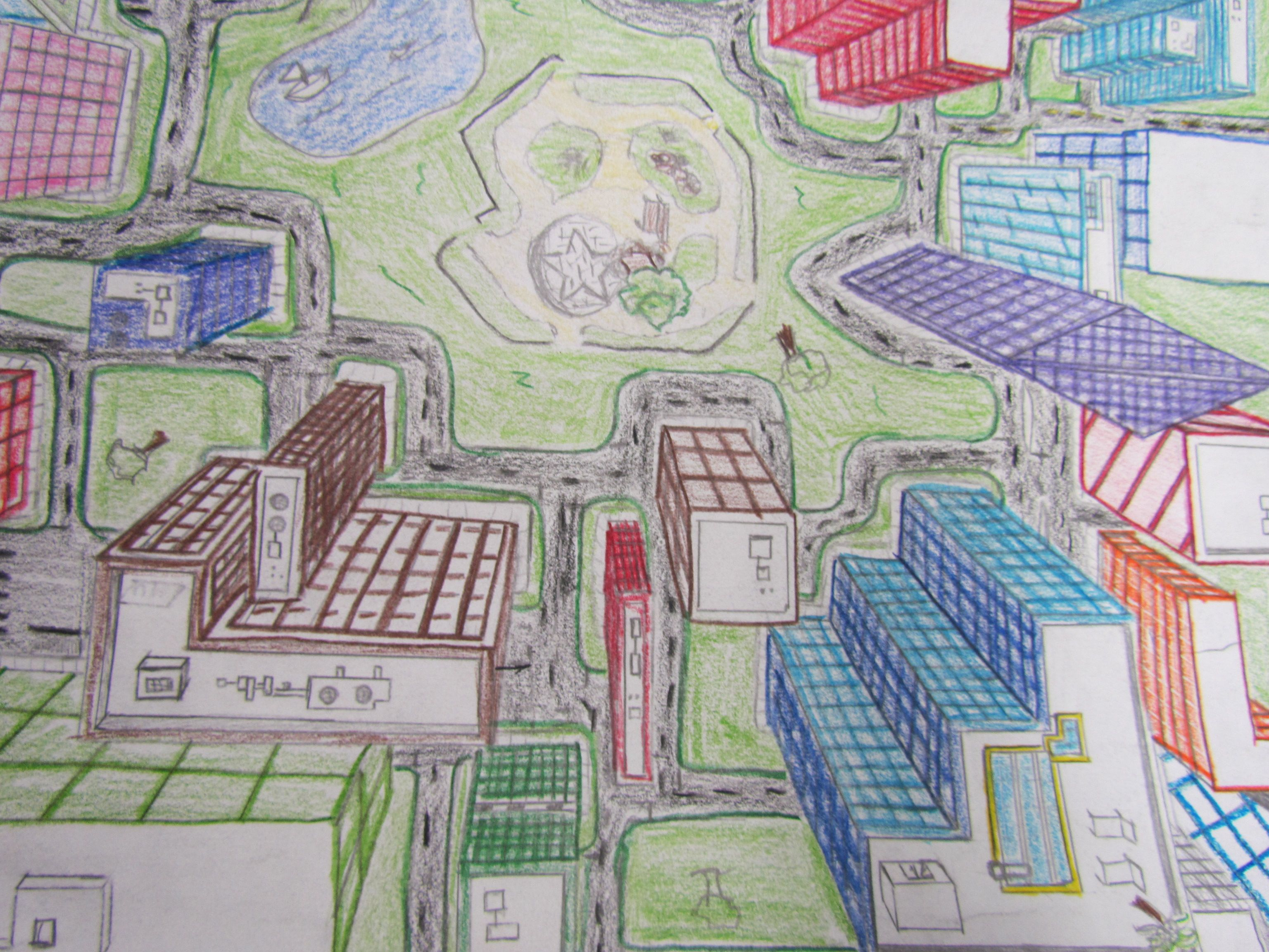 1 Point Perspective Drawing A City From Above