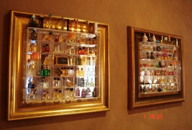 Miniature Perfume Collection Displayed In Gilt Frames And