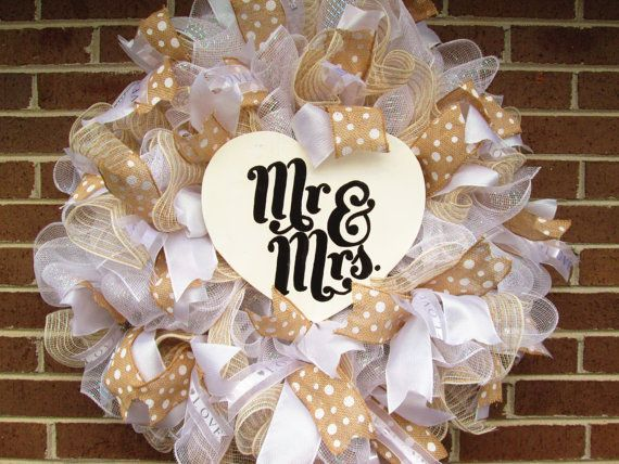 349e6cbe2a2 Beautiful Wedding Wreath to celebrate your first day as Mr. and Mrs! This  is a full wreath made using white deco mesh and filled in with white deco  mesh and ...