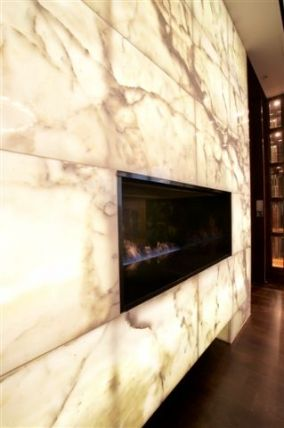 White Onyx Mantle With Back Light Warm By The Fire
