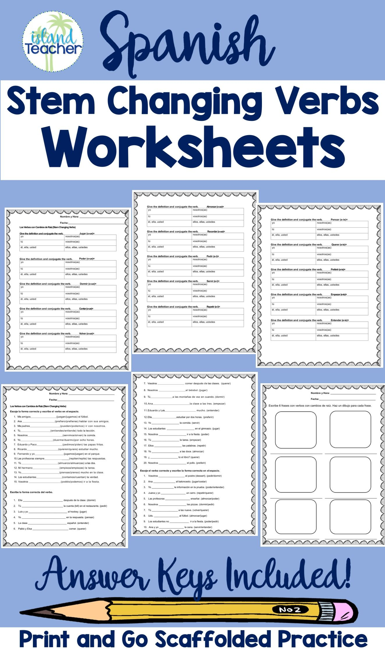 Spanish Stem Changing Verbs Worksheets In
