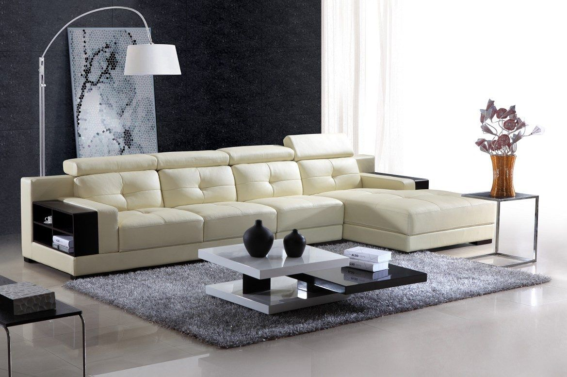 Sofá chaise longue de cuero blanco moderno | decoracion | Pinterest ...