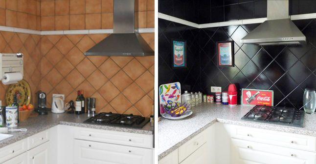 Repeindre le carrelage de la cr dence de ma cuisine d co repeindre carrelage relooking - Repeindre carrelage cuisine ...