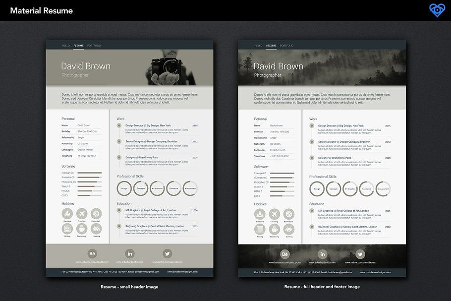 Material Resume Retro Unique Resume Template One Page Resume Footer Design