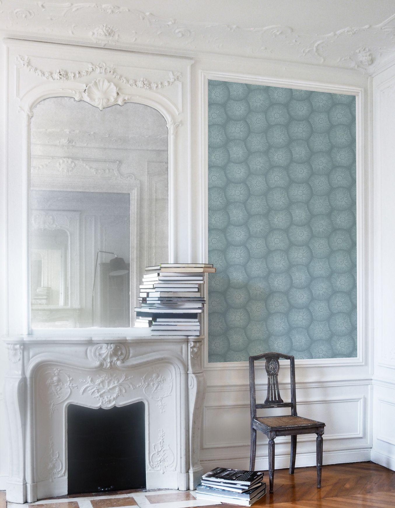 Papier Peint Intisse Non Woven Wallpaper Bleu Canard