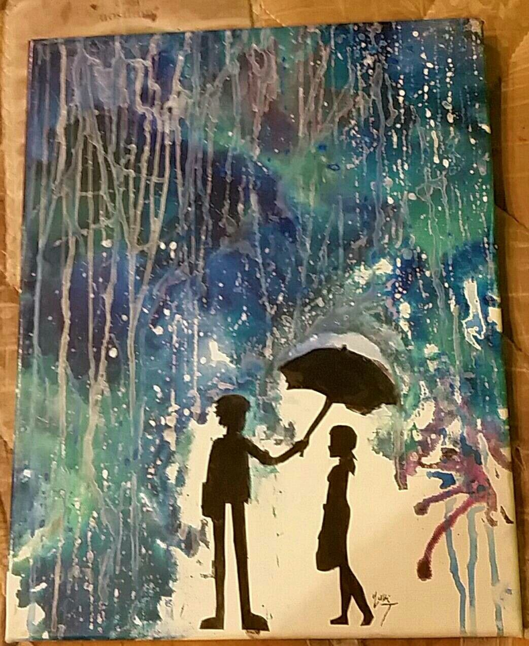 """Little late with posting this, but it'll be even later for my twitter. Miraculous Ladybug fanart! I titled it, """"In the rain"""" how original. (Sarcasm) I really adore Adrien and Marnette! This is done by Melting Crayons :)"""