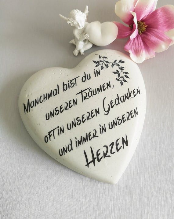 Grave heart memorial stone mourning cemetery gravestone / heart with saying - 14 cm