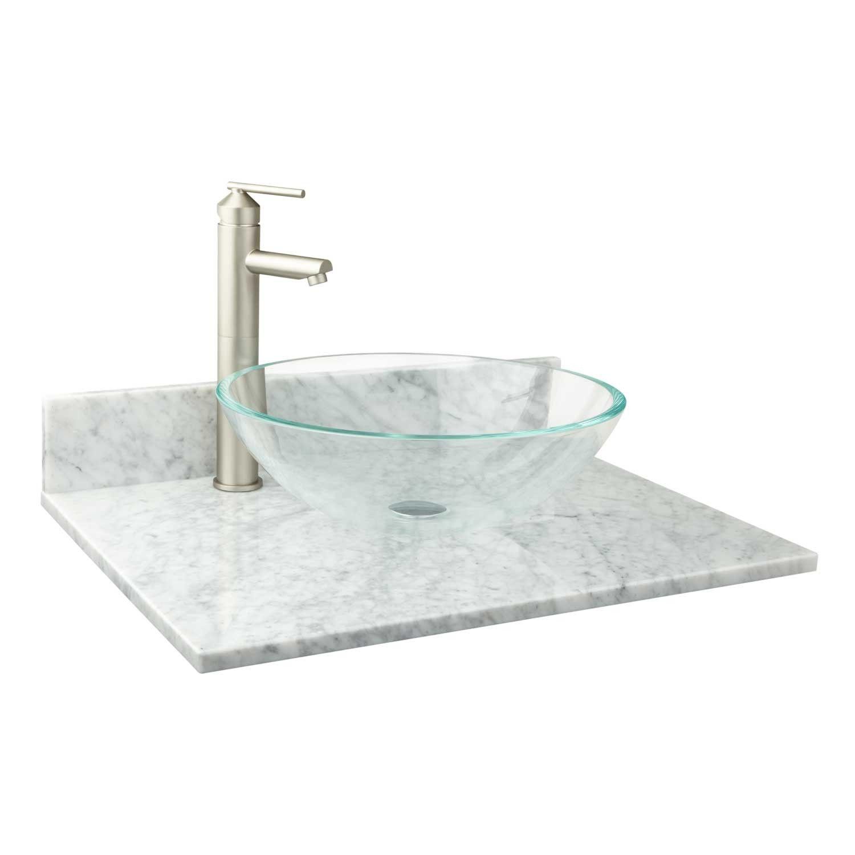 25 X 19 Narrow Depth Marble Vessel Sink Vanity Top