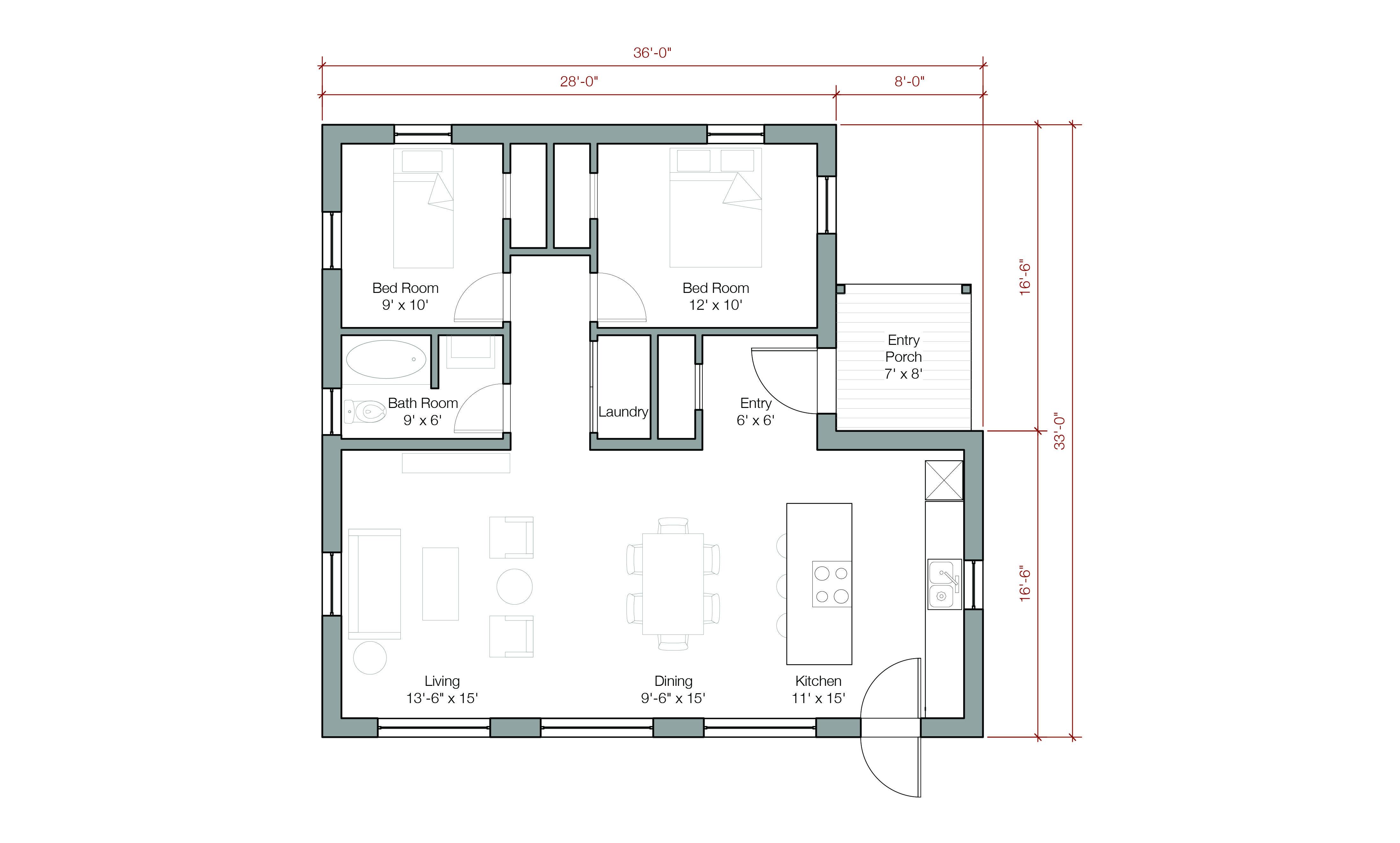 1100 Sq Ft 1flr 2bdrm Traditional House Plans Loft Spaces House