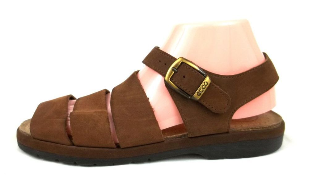 98aebc0fc08 Ecco Sandals Brown Leather Ankle Strap Shoes Womens U.S 9 9.5 EUR 40  ECCO   AnkleStrap