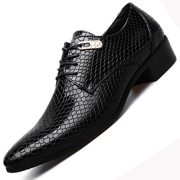 Tassel Fashion Men Dress Shoes Imitate Snake Leather Men Oxford Shoes Casual Business Men Pointed Shoes Wedding Men Flats Shoes Men's Shoes