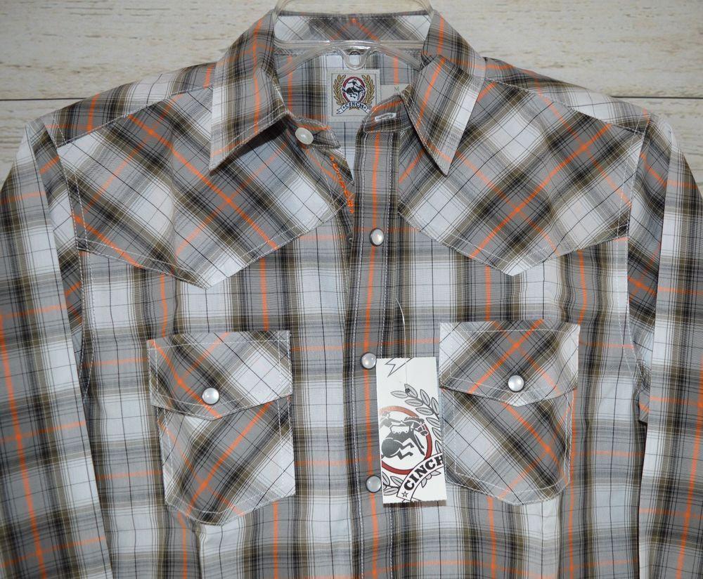 $17.99! CINCH Jeans MTW7020042 Boys cowboy SHIRT Western Plaid SNAPS  NWT Youth MEDIUM #CINCH #DressyEverydayHoliday