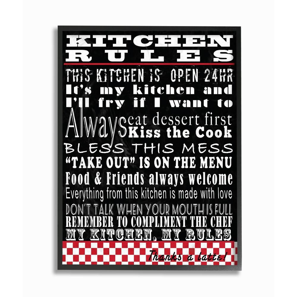 The Stupell Home Decor Collection 11 in. x 14 in. Kitchen Rules Black Typography by Lisa Wolk Wood Framed Wall Art KWP-942_fr_11x14 #kitchenrules