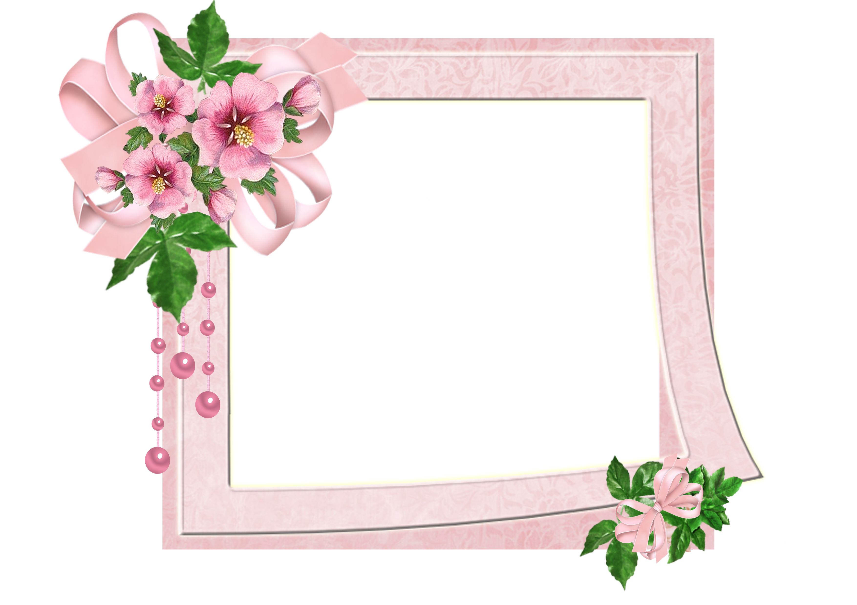 pink frame with flowers and ribbon
