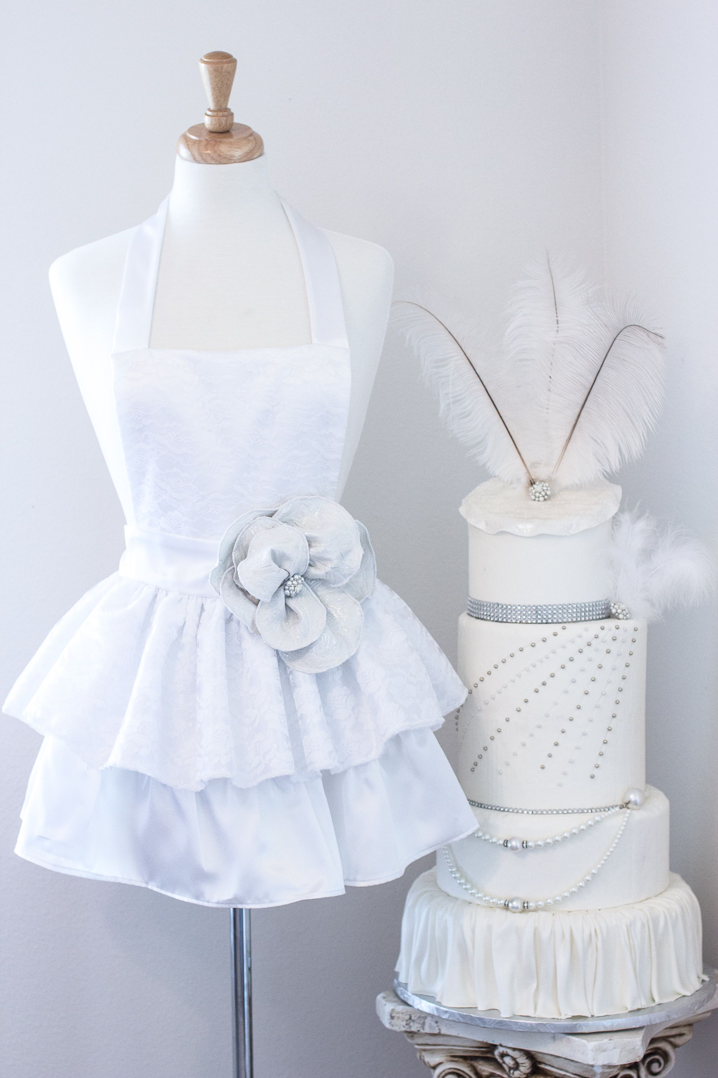 White lace apron wedding - Enticing Cake Boutique Introduces Their Couture Line Of Aprons Fit For A Queen This Apron White Satinwhite Lacebridal