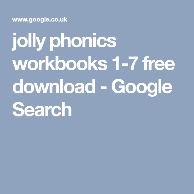 free download jolly phonics workbook 1