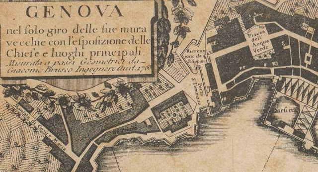 """C'ERA UNA VOLTA GENOVA - part of the map of Genoa, year 1581, by Antonio Lafrery. Exposer in Genoa """"palazzo Rosso"""" Museum. From left it shows Andrea Doria Palace, outside of the walls of the town, then the military site  """"Arsenale e darsena delle galee"""".  For further info. pls visit our blog"""