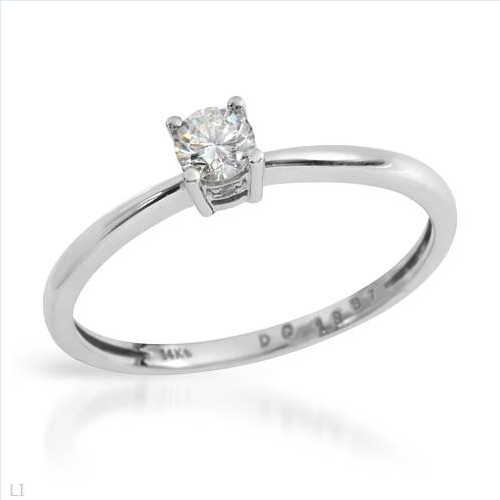 $289.00  Exquisite Brand New Solitaire Ring With Genuine  Clean Diamonds in 14K White Gold- Size 7 We Can Resize from 6 to 8 - Certificate Available.