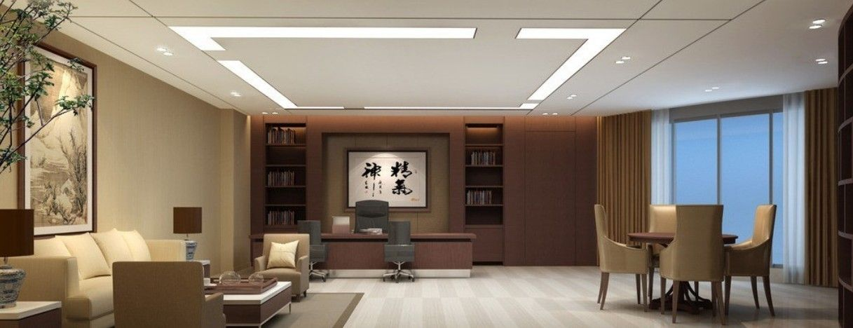 Hong kong company general manager office 3d interior for Office interior decorating ideas