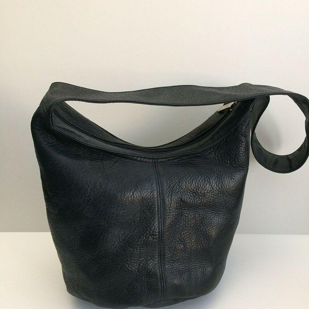 Wilsons Leather Purse Black Shoulder Bag Bucket Zip Top