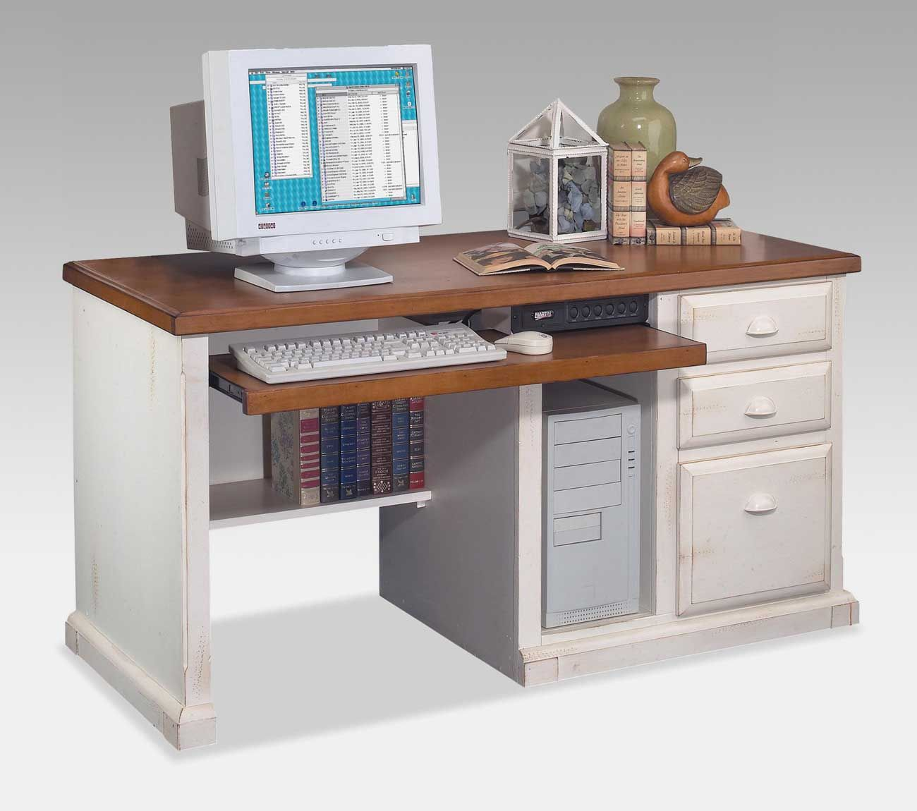 The Unique Computer Desk Ideas Table With Wood Counter For Monitor White Freestanding Cabinetry Plus Bookcase Office