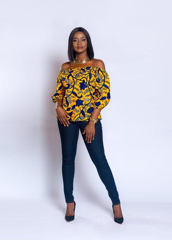 e5b96f4d88f75f Off-shoulder, Ankara off-shoulder, African print Off-shoulder, African  print top, African clothing,