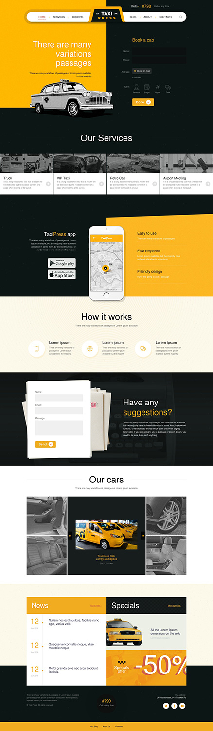 taxipress taxi company vintage wordpress theme review