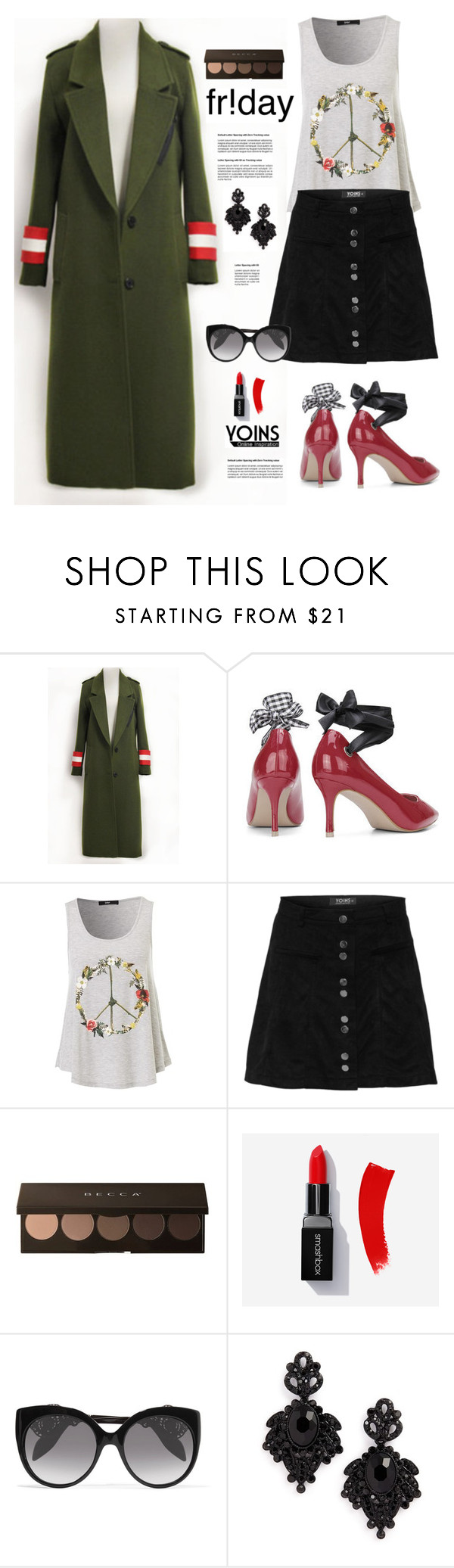 """Yoins.com: Friday!!"" by hamaly ❤ liked on Polyvore featuring Alexander McQueen, Tasha, yoins, yoinscollection and loveyoins"