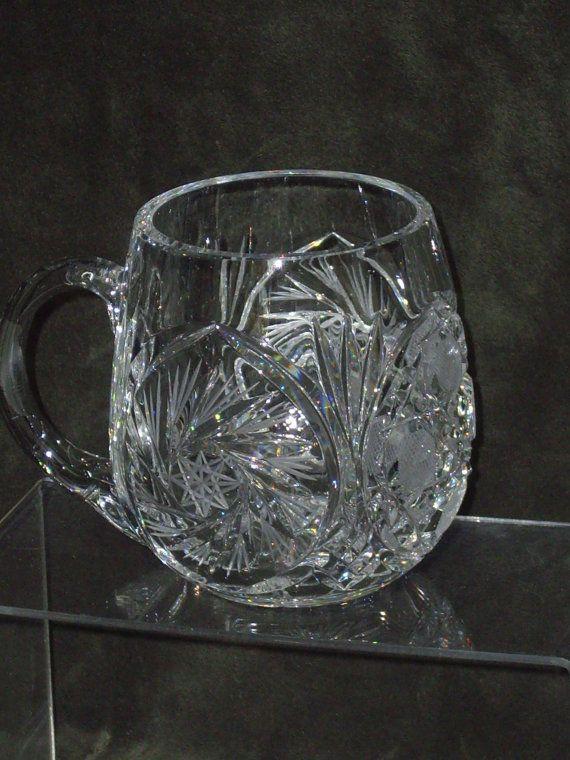 Crystal Glass Stein Vintage Pinwheel Crystal Beer Stein