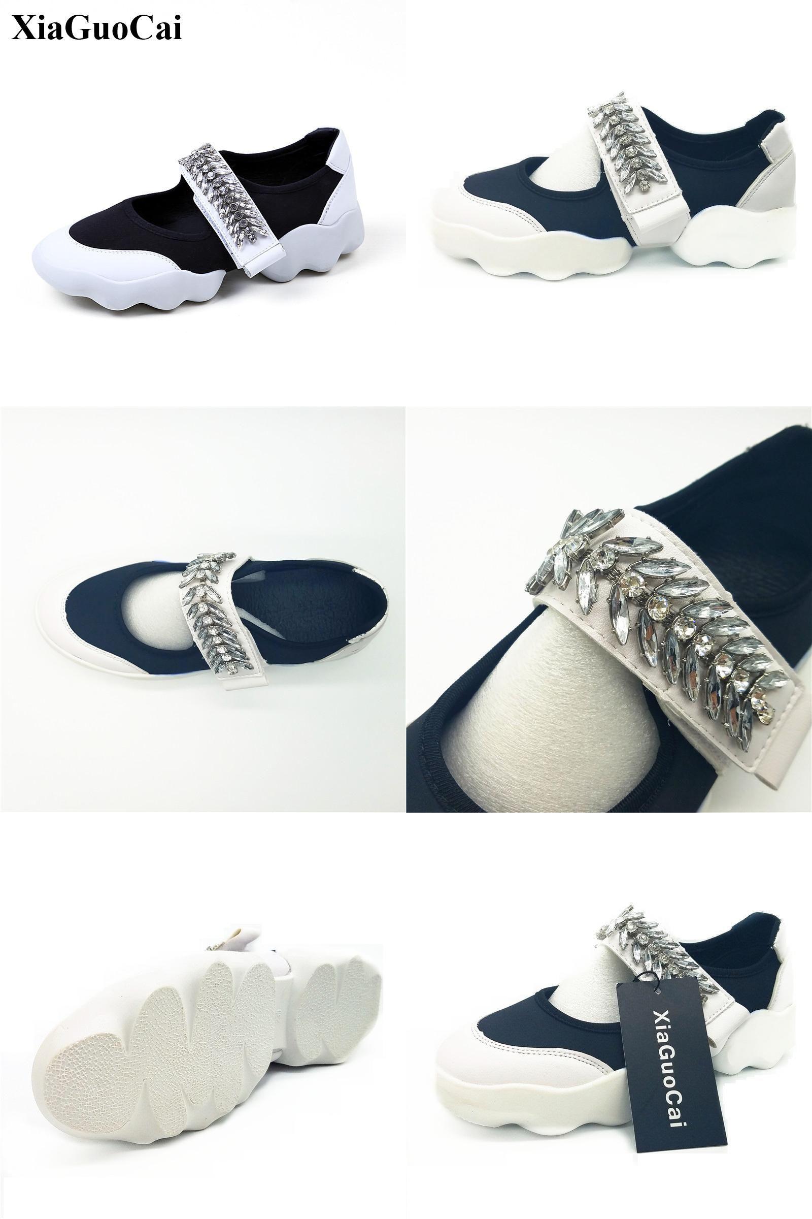 [Visit to Buy] Summer Women Shoes Fashion Shallow Platform Crystal Hook&loop Elastic Causal Flats Shoes Non-slip Walking Single Shoes H343 35 #Advertisement
