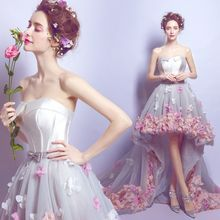 Angel Bridal - Strapless Applique High-Low Mini Prom Dress ...