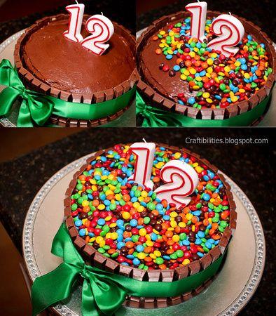 Chocolate Mini M M And Kit Kat Cake Happy 12th Birthday