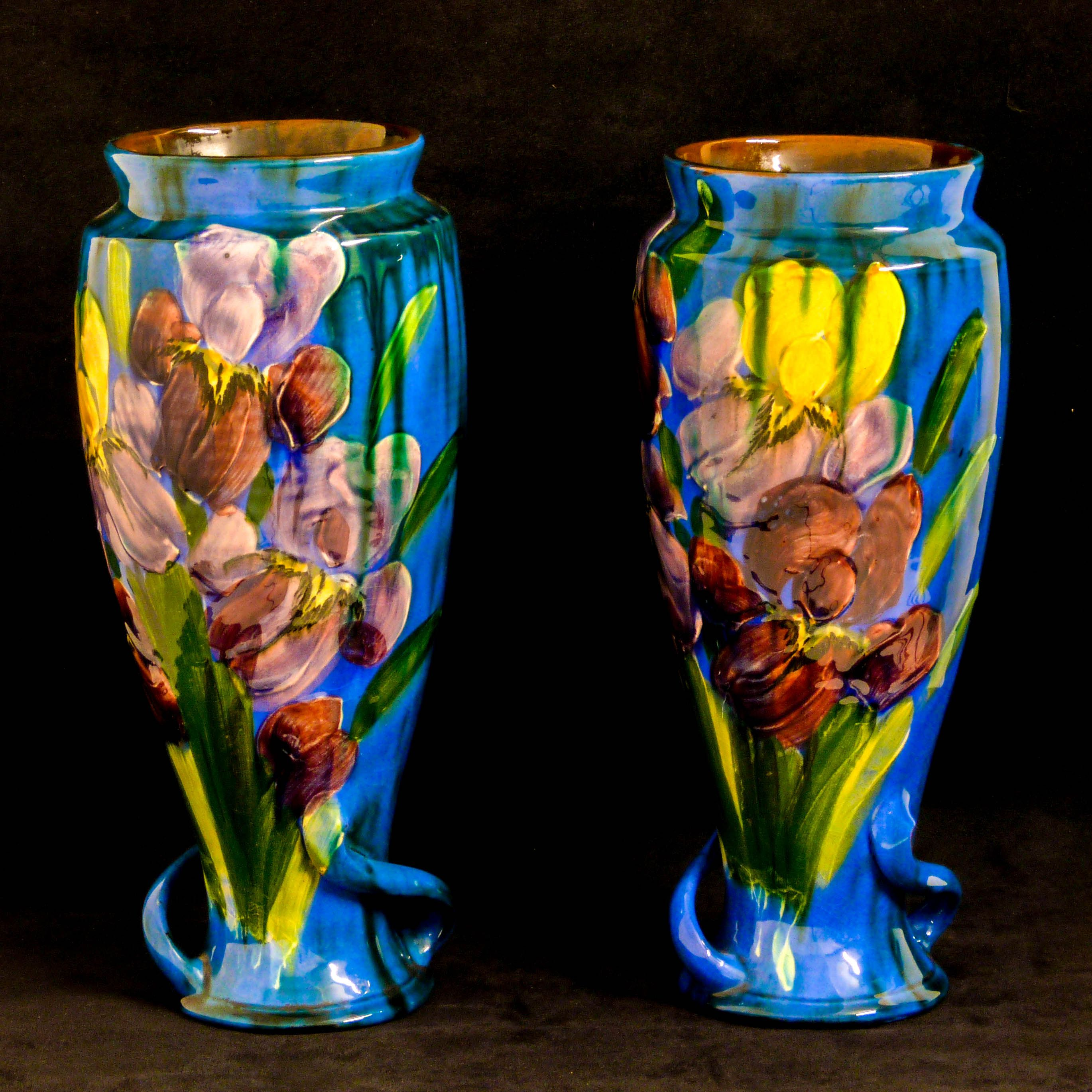 A pair of antique art nouveau vases in the manner of moorcroft a pair of antique art nouveau vases in the manner of moorcroft reading torquay pottery underneath reviewsmspy