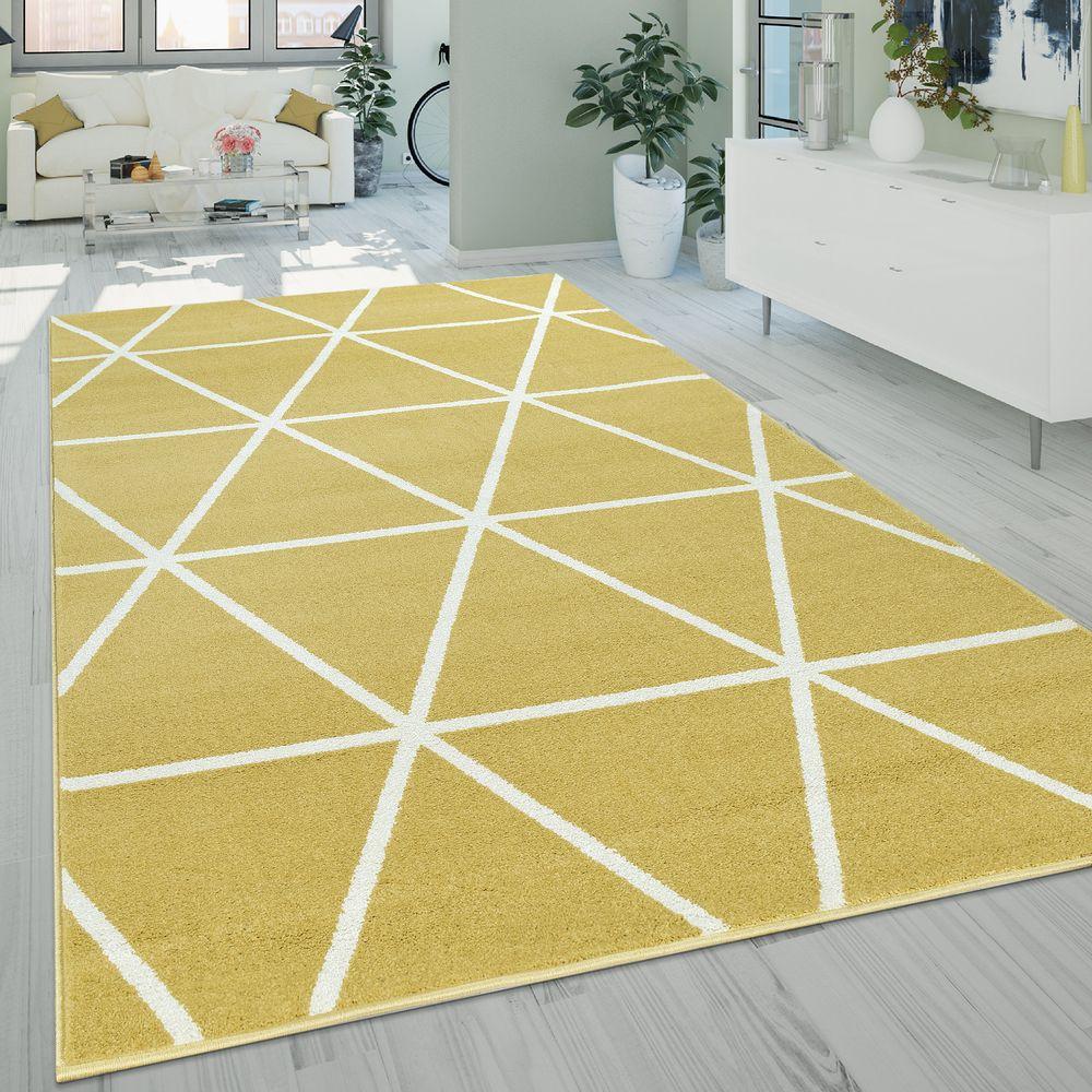 Kurzflor Teppich Rauten Muster Gelb Teppich Wohnzimmer Teppich Teppich Wohnzimmer