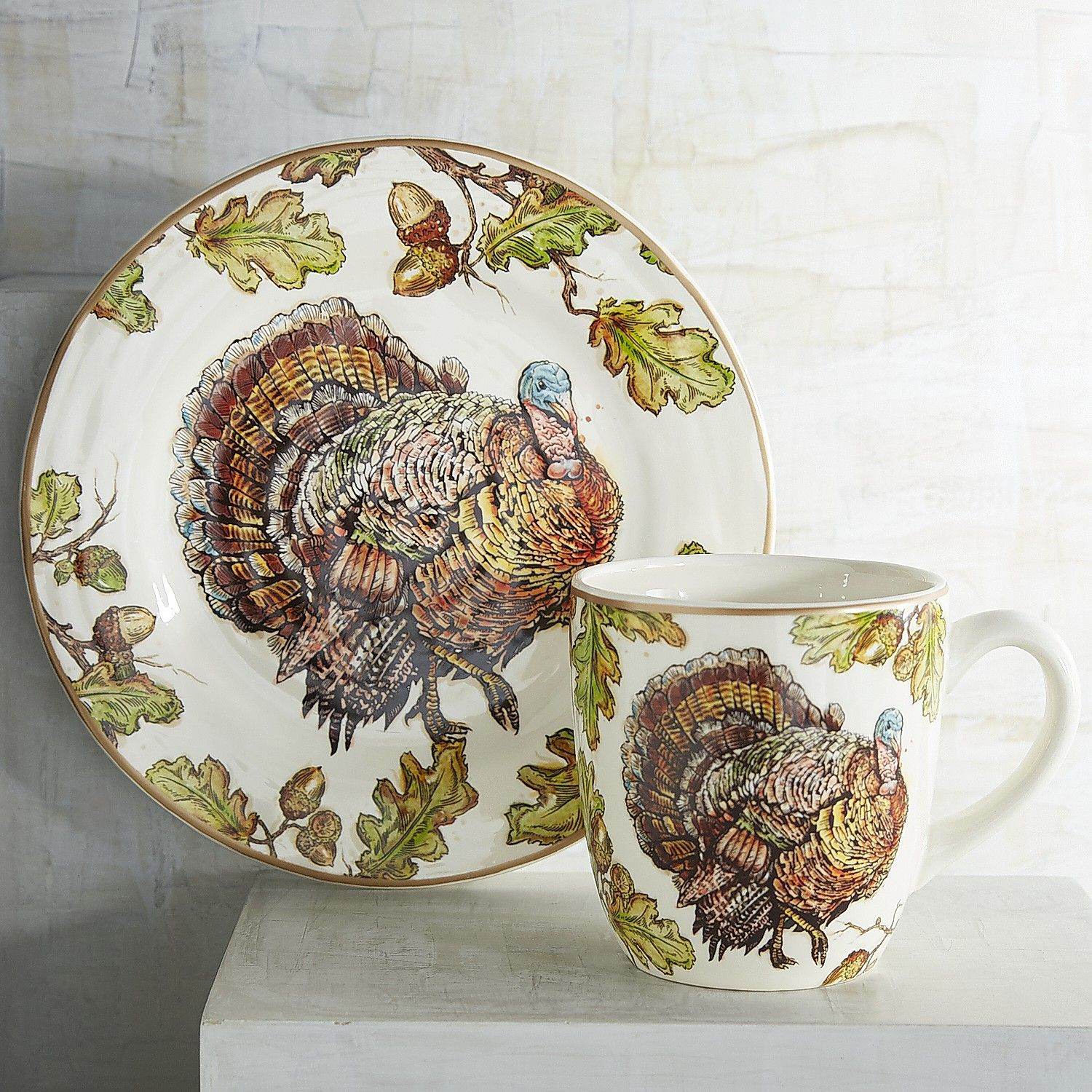 Multi-colored Autumn Oak Turkey Dinnerware - Earthenware & Multi-colored Autumn Oak Turkey Dinnerware - Earthenware ...