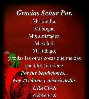 Gracias Senor Por Mi Familia Mi Hogar Mis Amistades Mi Salud Mi