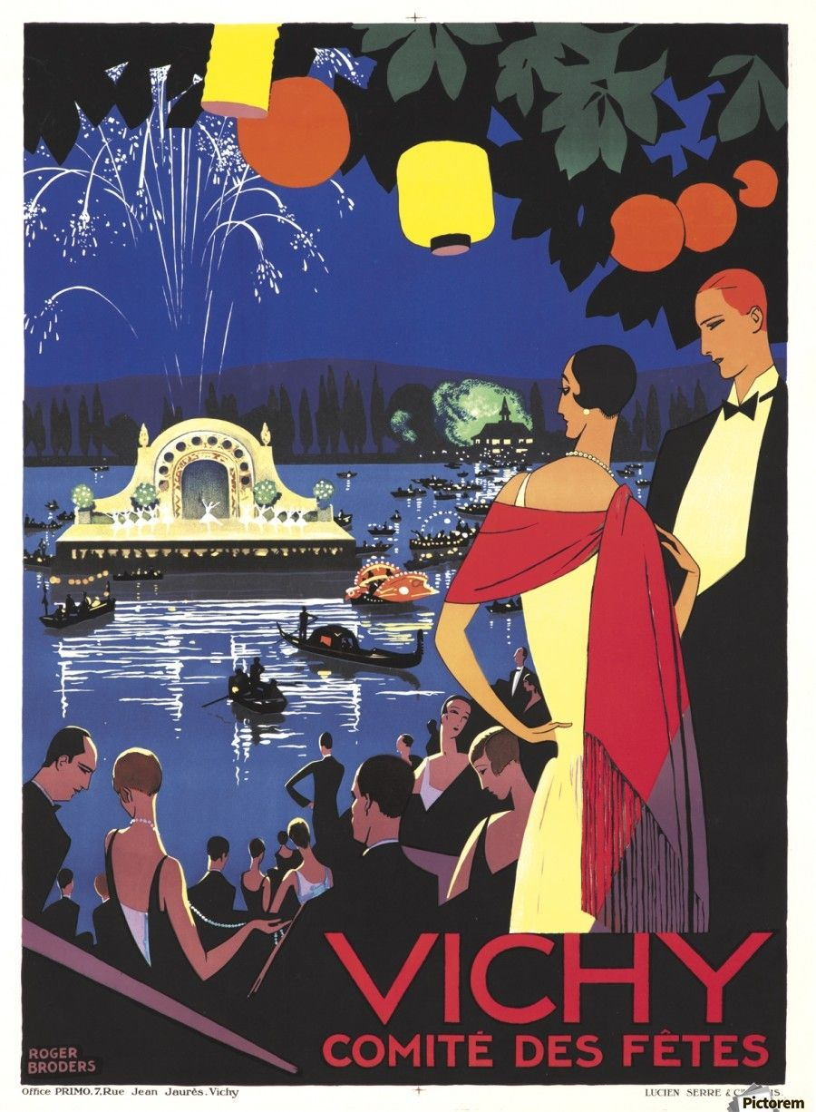 vichy french art deco travel poster