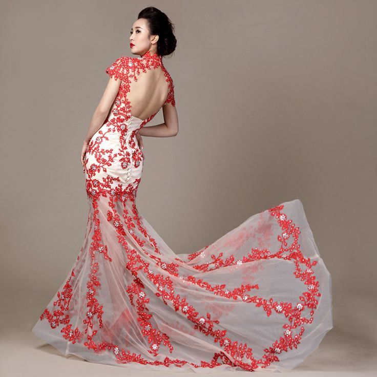 $408.96 White and red embroidered floral trailing dresses modern ...