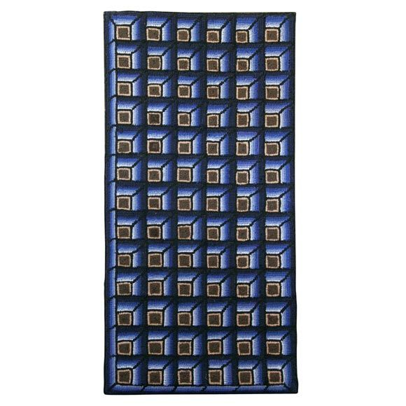 1940S mounted geometric tumbling blocks hand hooked rug. | From a unique collection of antique and modern rugs at https://www.1stdibs.com/furniture/more-furniture-collectibles/rugs/