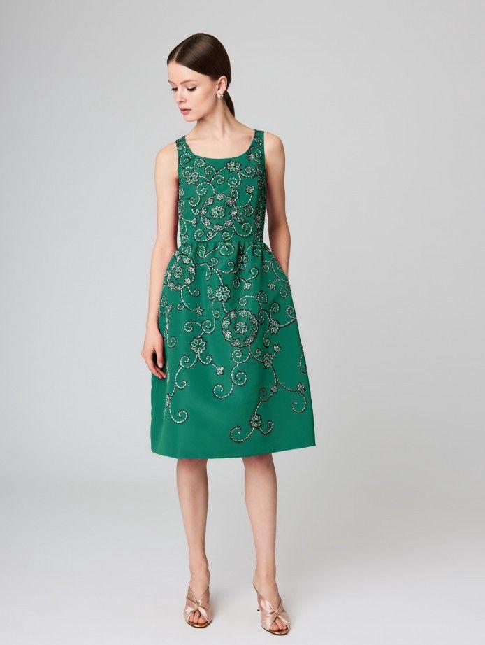 1fe8f78917 OSCAR DE LA RENTA Embroidered Silk-Faille Cocktail Dress.  oscardelarenta   cloth
