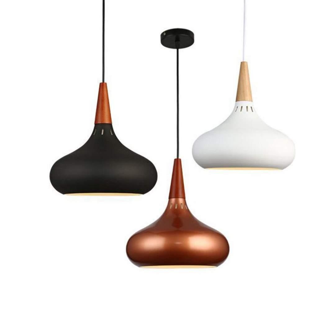 Copper Nordic Pendant Lights Aluminum Wood Hanging Drop