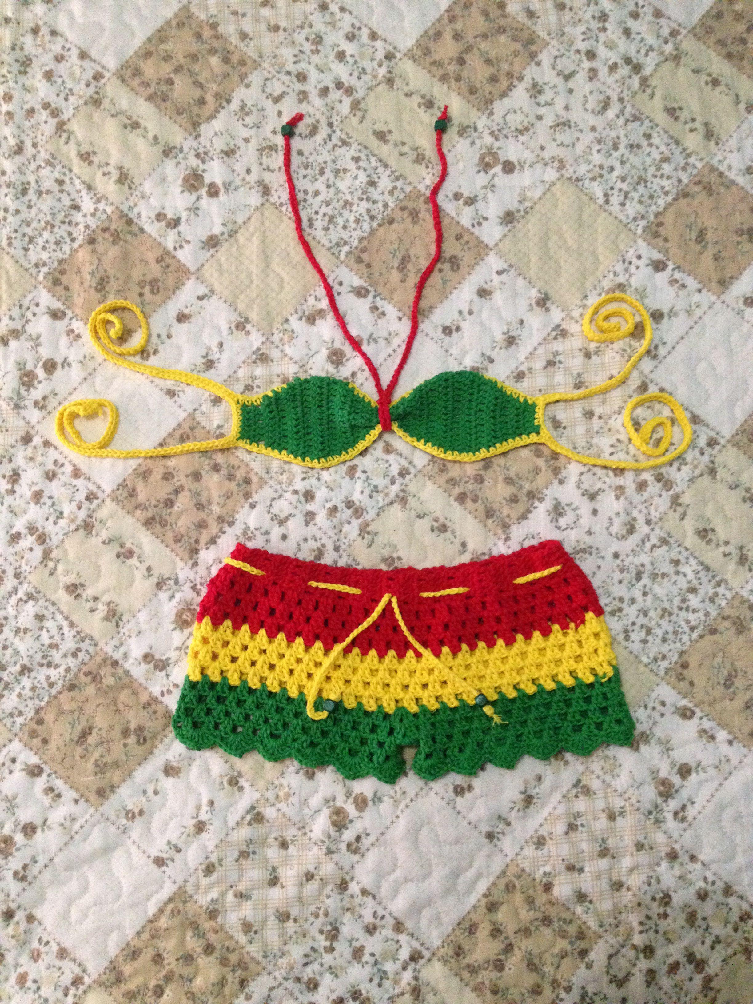 db6c7b9960ac Traje de baño niña Biquini De Crochê Para Bebê, Biquini De Crochê Infantil,  Biquini