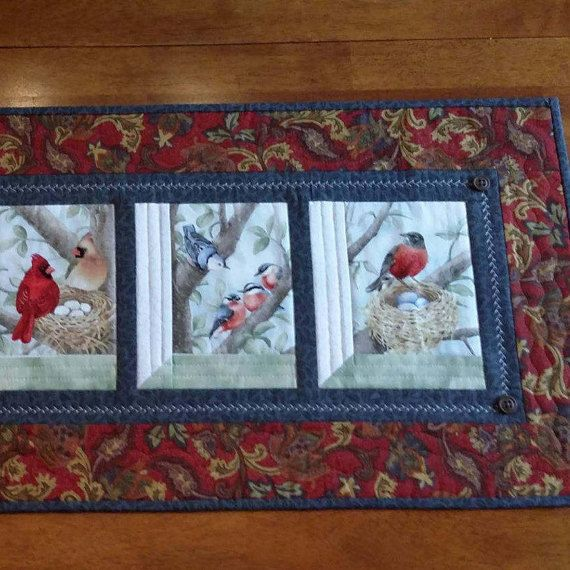 Quilted Table Runner 14 X 30 Bird Table Runner Red By Djwquilts