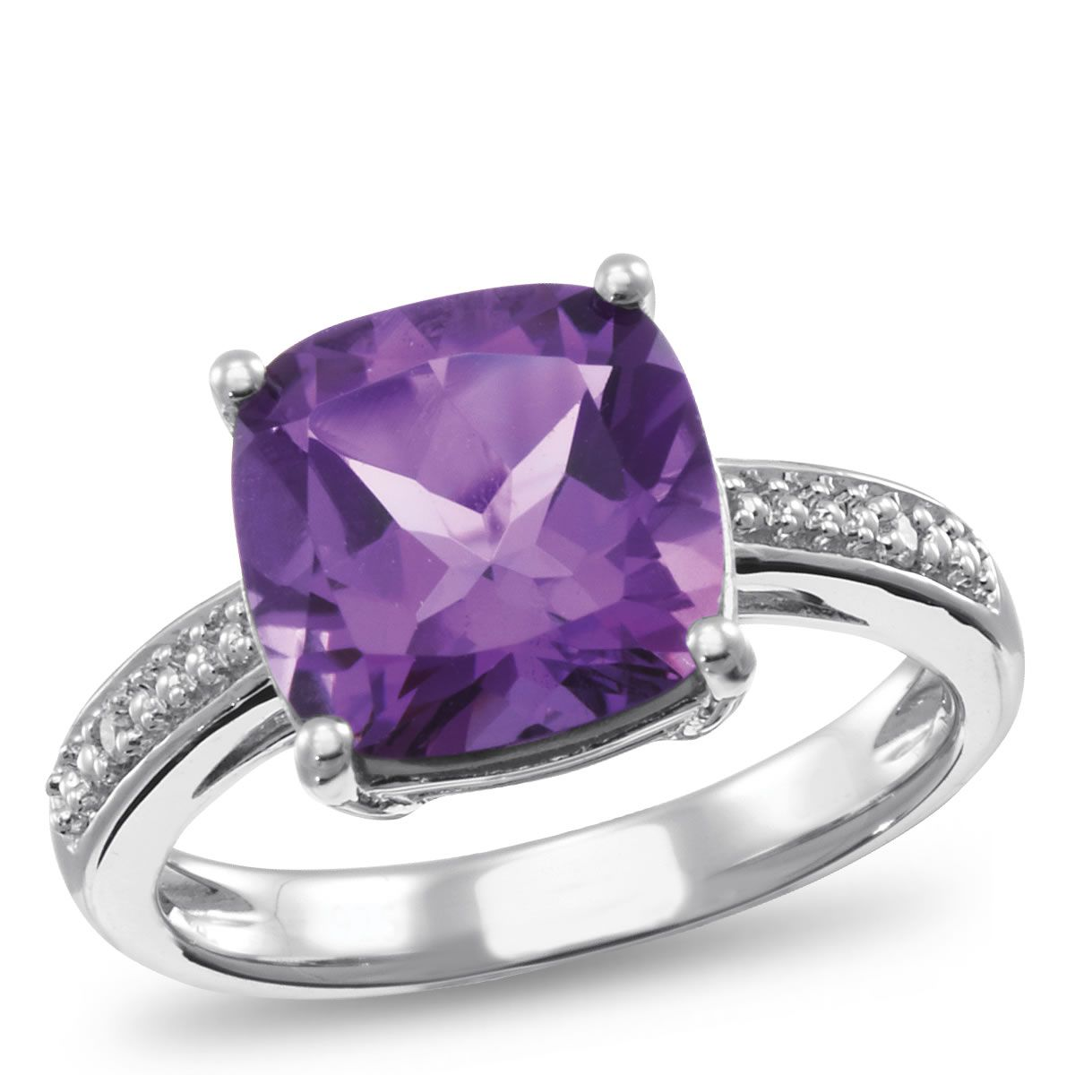 Sterling Silver, Amethyst and Diamond Accent Ring